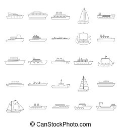 Marine vessels types icons set, outline style