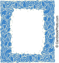 Marine waves frame decoration.Vector blue graphic background...