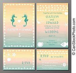 Marine wedding inviation card