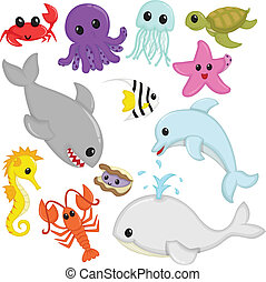 Marine wildlife animals - A vector illustration of marine ...