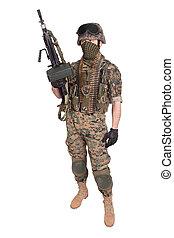 MARINE with M249 machine gun