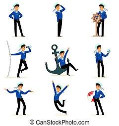 marinero, carácter, hacer, el suyo, trabajo, set., marinero, en, diferente, situaciones, caricatura, vector, ilustraciones