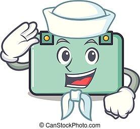 marinero, maleta, carácter, estilo, caricatura