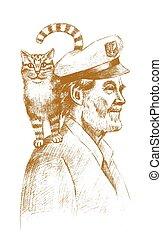 marinero, viejo, gato