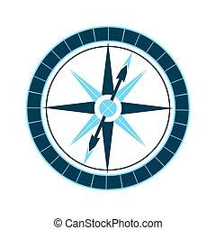 mariner's, rose., equipment., compass., náutico, vento