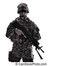 Marines corps fighter with machine gun studio shot