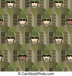 Marines seamless pattern. Soldiers in helmets and bullet-...