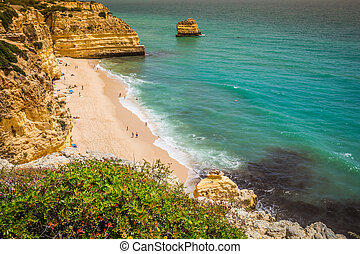 Marinha Beach, located on the Atlantic coast in Portugal, Algarve.