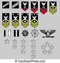 marinha, insignia, nós, grau
