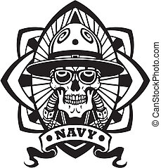 marinha, militar, desenho, -, vetorial, illustration.