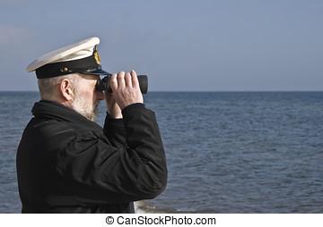 marinheiro, com, binóculos
