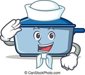 marinheiro, cozinha, personagem, estilo, caricatura