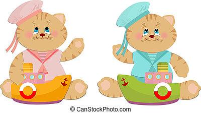 marinheiro, gatos, ilustração, brinquedos