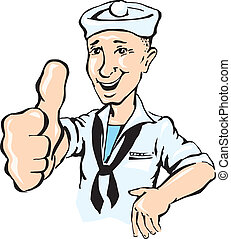 marinheiro, mostrar, cima, polegar