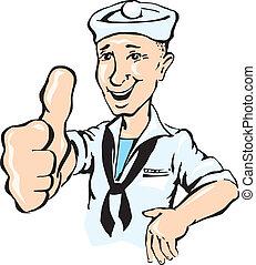 marinheiro, mostrar, polegar cima