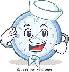 marinheiro, relógio, personagem, estilo, caricatura