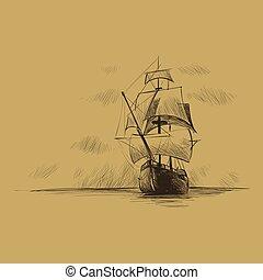 marinheiro, tema, mar, âncora