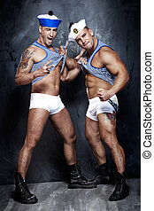 marinheiros, bonito, muscular, posing.