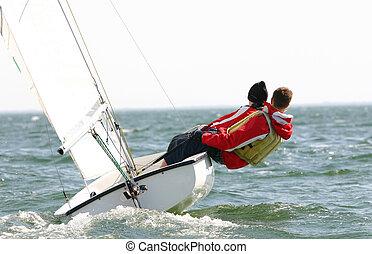 marinheiros, dinghy, jovem