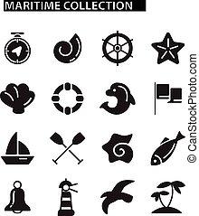 marinho, ícones, jogo