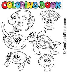 marinho, 3, coloração, animais, livro