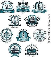 marinho, emblemas, e, bandeiras