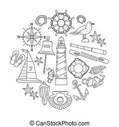 marinho, esboço, ícones, set.