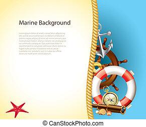 marinho, fundo, com, marinheiro, itens