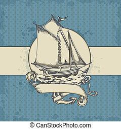 marinho, fundo, com, navio