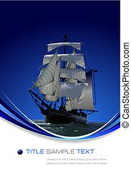 marinho, fundo, com, vela, ship., vetorial, ilustração