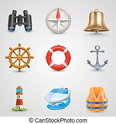marinho, jogo, ícones