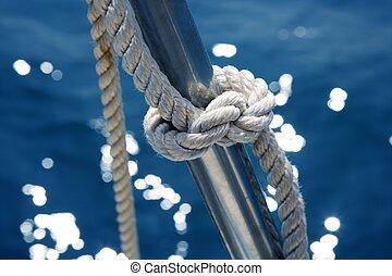 marinho, nó, detalhe, aço inoxidável, bote, trilhos