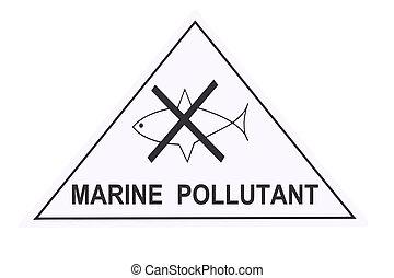 marinier, verontreiniger, waarschuwingsetiket