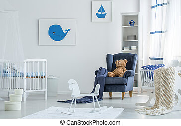 Blauwe kamer kind kleine tafel kinderbed stoel