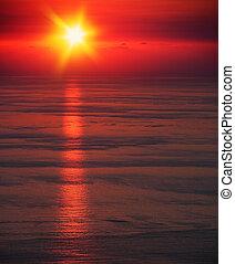 marinmålning, solnedgång