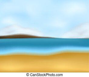marinmålning, strand, fläck