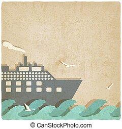 marino, barca, su, onde, vecchio, fondo
