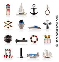 marino, navigazione, e, mare, icone