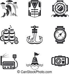 marino, vettore, nero, icone