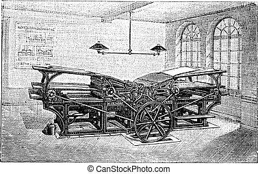 Marinoni  double printing press vintage engraving