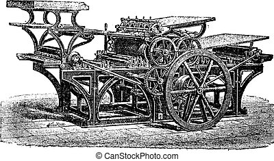 Marinoni double printing press, vintage engraving. Old engraved illustration of Marinoni double printing press.