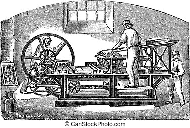 Marinoni printing press vintage engraving - Marinoni...