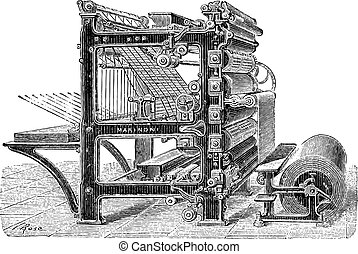 Old engraved illustration of Marinoni Rotary printing press with a roll of paper moving inside it, this machine can produce 20,000 copies of journals at one time and it can come with mechanical brakes as well. Dictionary of words and things - Larive and Fleury ? 1895