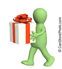 marionet, cadeau, 3d