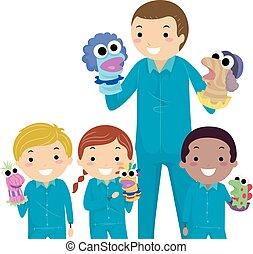 marionetki, dzieciaki, stickman, nauczyciel, ilustracja