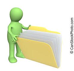 marionett, öppning, mapp, med, dokument