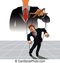 Marionette business man on ropes