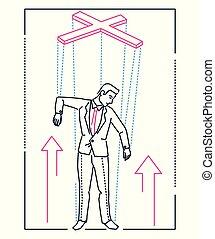 Marionette businessman - line design style illustration on...