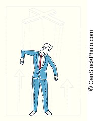 Marionette businessman - line design style isolated...