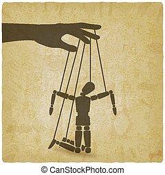 marionette, mann, weinlese, hintergrund, kaputte , seile, ...